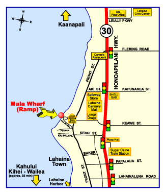 Map To Mala Wharf Maui